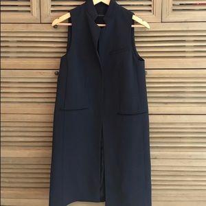 Zara Navy Long Vest Coat